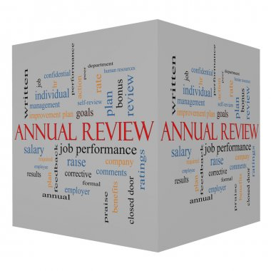 Annual Review Word Cloud Concept on a 3D Cube