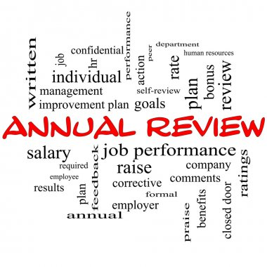 Annual Review Word Cloud Concept in red caps