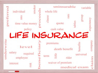 Life Insurance Word Cloud Concept on a Whiteboard