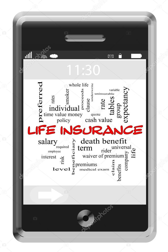 Life Insurance Word Cloud Concept on Touchscreen Phone