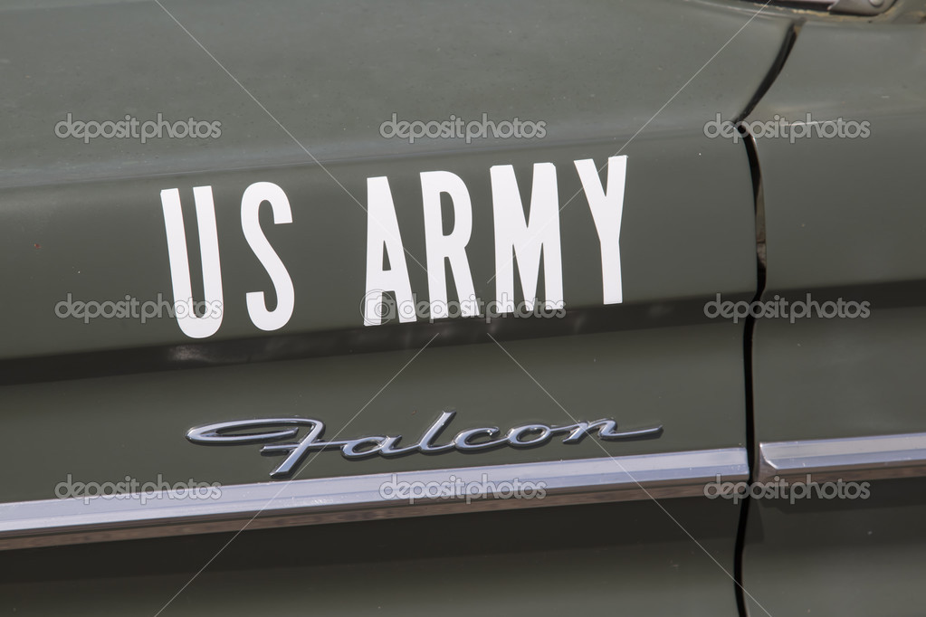 1964 Ford Falcon US Army Car Side View – Stock Editorial