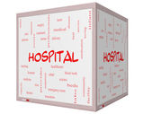 Hospital Word Cloud Concept on a 3D Cube Whiteboard