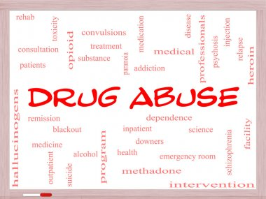 Drug Abuse Word Cloud Concept on a Whiteboard