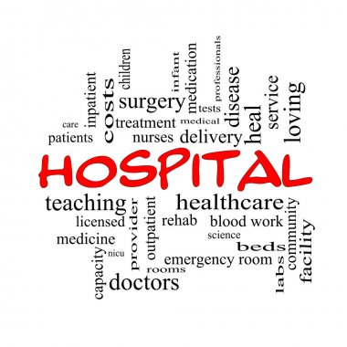 Hospital Word Cloud Concept in red caps