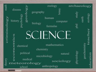 Science Word Cloud Concept on a Blackboard