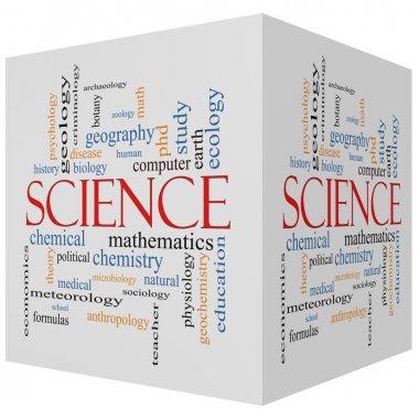 Science 3D Cube Word Cloud Concept