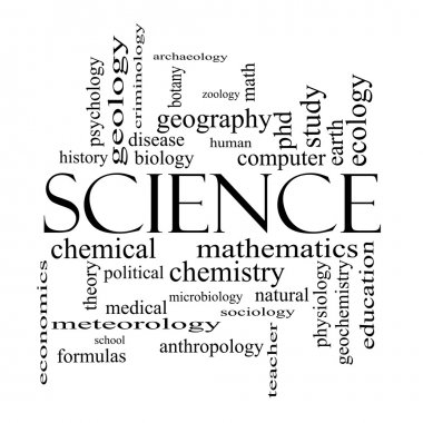 Science Word Cloud Concept in black and white