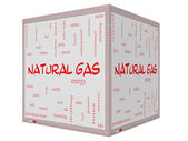 Photo Natural Gas Word Cloud Concept on a 3D cube Whiteboard