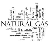 Photo Natural Gas Word Cloud Concept in black and white