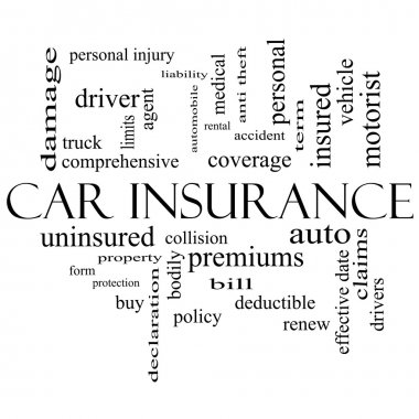 Car Insurance Word Cloud Concept in black and white