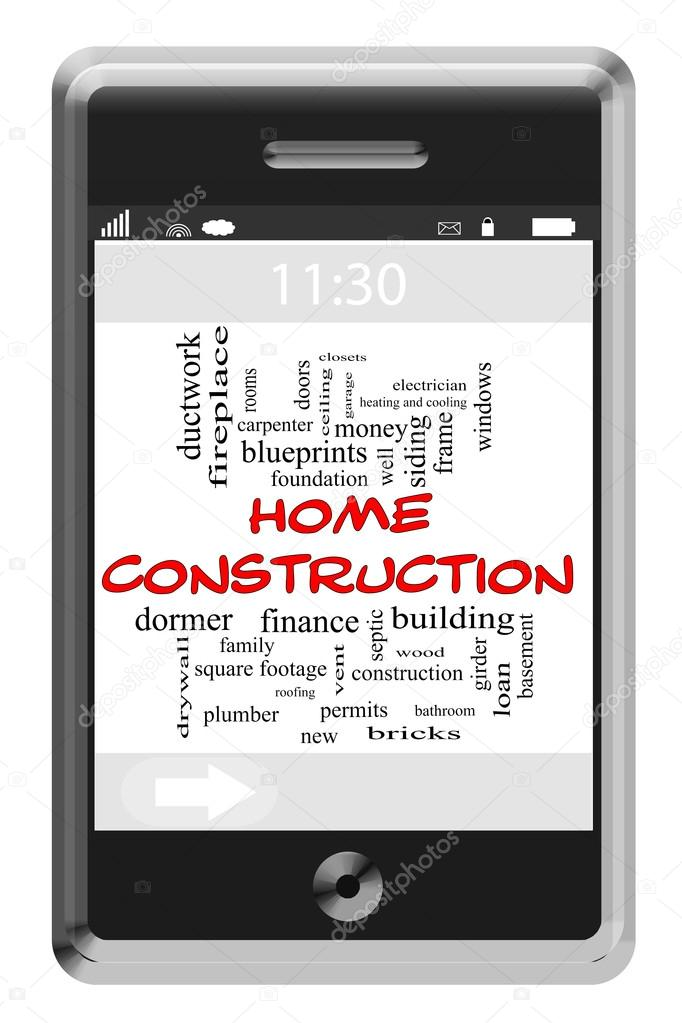 Home Construction Word Cloud Concept on Touchscreen Phone