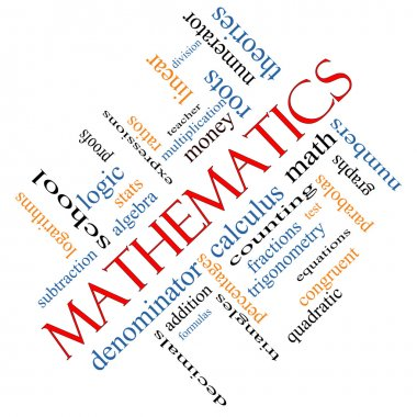 Mathematics Word Cloud Concept Angled