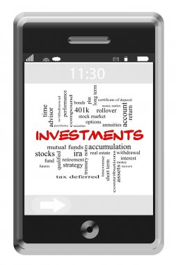 Investments Word Cloud Concept on Touchscreen Phone
