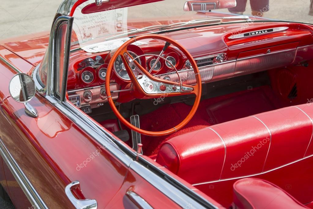 1959 Rot Chevy Impala Cabrio Innenausstattung Redaktionelles