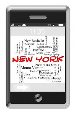 New York Word Cloud Concept on Touchscreen Phone