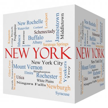 New York State 3D cube Word Cloud Concept