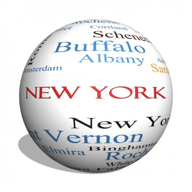 New York State 3D sphere Word Cloud Concept