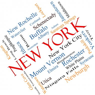 New York State Word Cloud Concept Angled