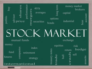 Stock Market Word Cloud Concept on a Blackboard
