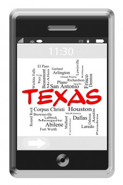 Texas State Word Cloud Concept on Touchscreen Phone