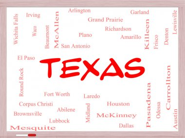 Texas State Word Cloud Concept on a Whiteboard
