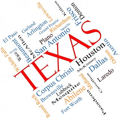 Texas State Word Cloud Concept Angled