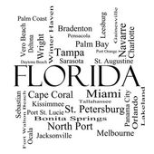Florida státu slovo mrak koncepce v černé a bílé