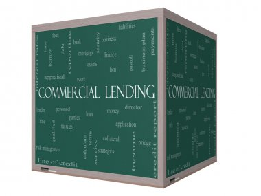 Commercial Lending Word Cloud Concept on a 3D cube Blackboard