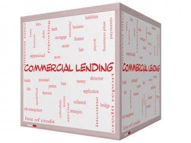 Commercial Lending Word Cloud Concept on a 3D cube Whiteboard