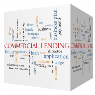 Commercial Lending 3D cube Word Cloud Concept