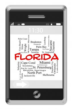 Florida State Word Cloud Concept on Touchscreen Phone