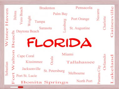 Florida State Word Cloud Concept on a Whiteboard