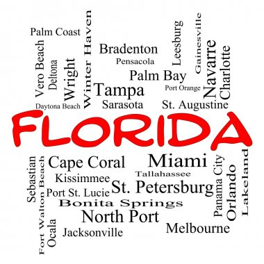 Florida State Word Cloud Concept in red caps