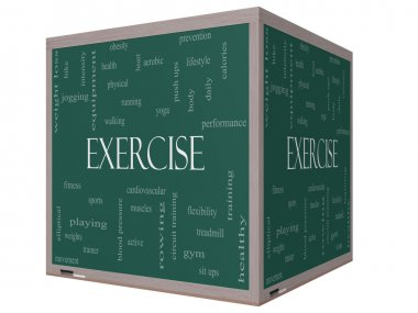 Exercise Word Cloud Concept on a 3D cube Blackboard