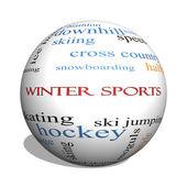 zimní sporty 3d koule slovo mrak koncepce
