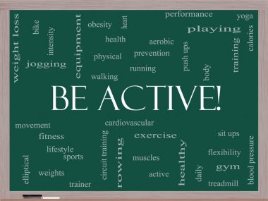 Be Active! Word Cloud Concept on a Blackboard
