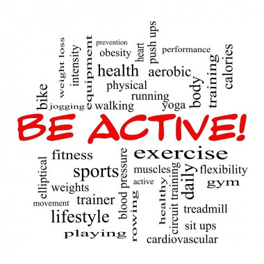 Be Active! Word Cloud Concept in red caps