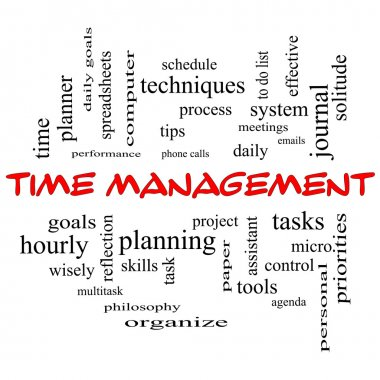 Time Management Word Cloud Concept in red caps