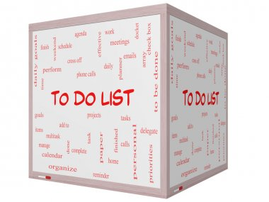 To Do List Word Cloud Concept on a 3D cube Whiteboard