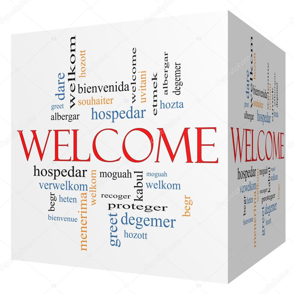 Welcome Foreign Language 3d Cube Word Cloud Stock Photo