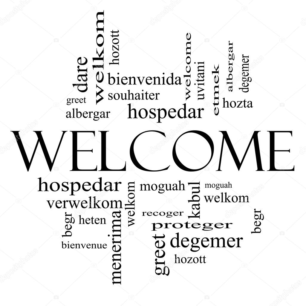 Welcome Foreign Language Word Cloud In Black And White Stock Photo
