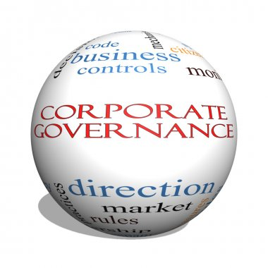 Corporate Governance 3D sphere Word Cloud Concept