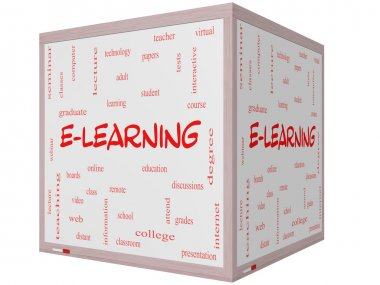 E-Learning Word Cloud Concept on a 3D cube Whiteboard
