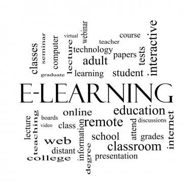 E-Learning Word Cloud Concept in black and white
