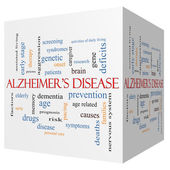 concetto di malattia di Alzheimer 3d cubo parola nuvola