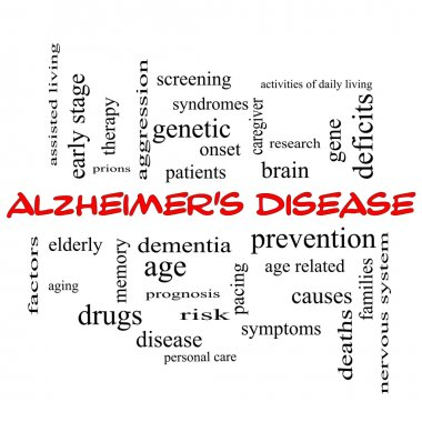 Alzheimer's Disease Word Cloud Concept in red caps
