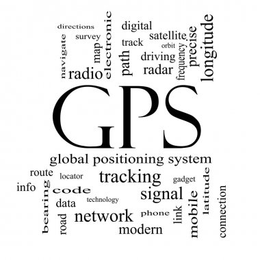 GPS Word Cloud Concept in black and white