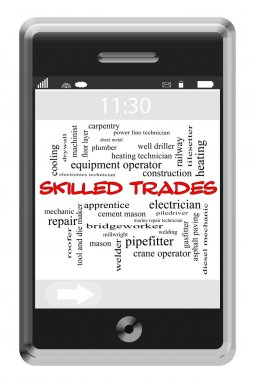 Skilled Trades Word Cloud Concept on Touchscreen Phone