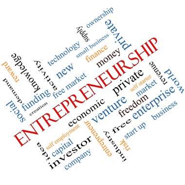Entrepreneurship Word Cloud Concept Angled