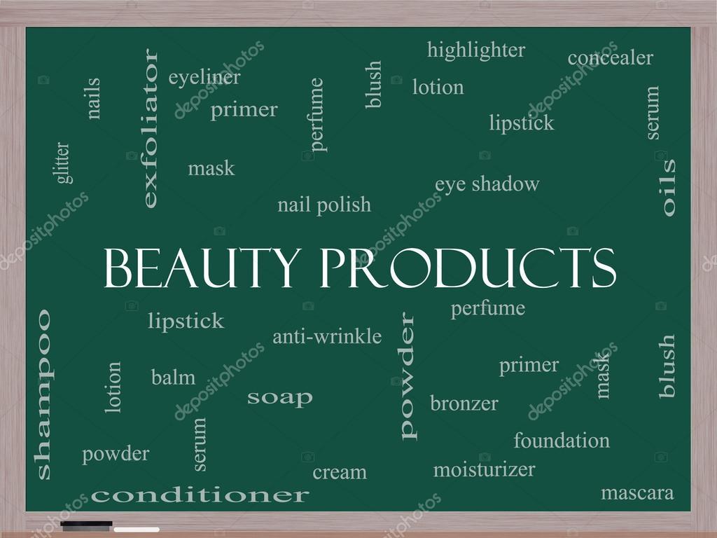 productos de belleza de la palabra concepto de cloud en una pizarra ...